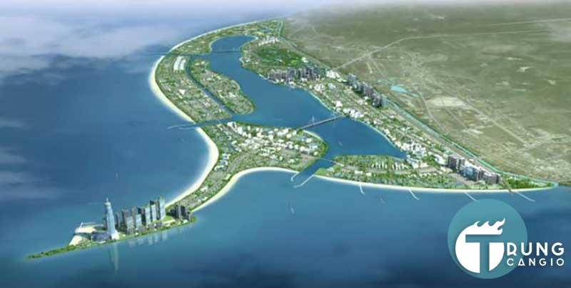vị trí dự án lấn biển Cần Giờ nằm toàn bộ trên bờ biển xã Long Hòa và Cần Thạnh