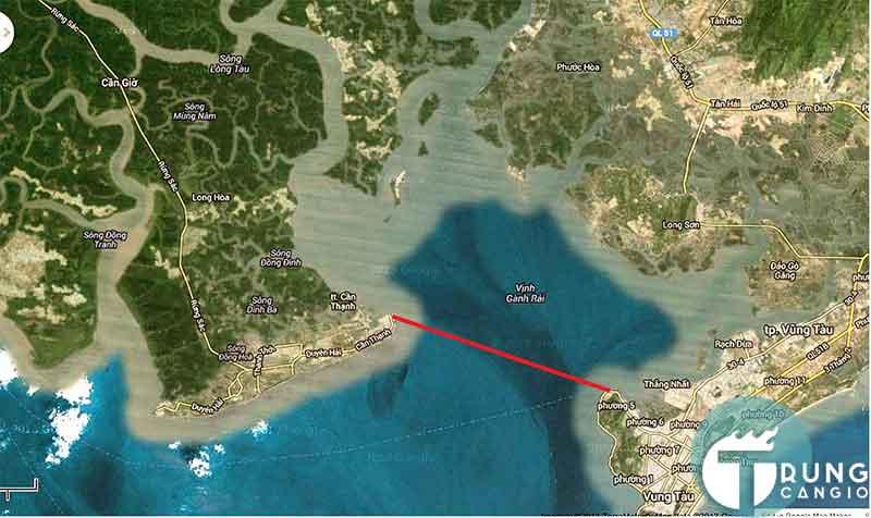phà biển từ Cần Giờ - Vũng Tàu có cự li vận chuyển khoảng 15km